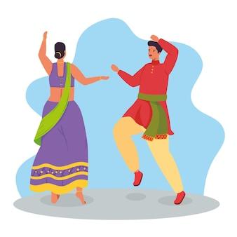 Paar indianer mit traditionellem tanzillustrationsdesign der kleidung