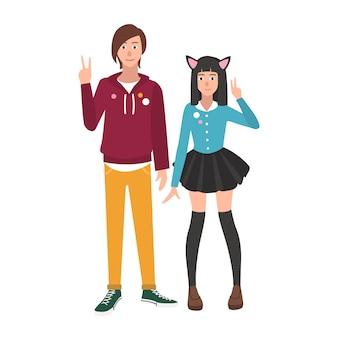 Paar japanische anime- und mangafans oder -liebhaber des jungen und des mädchens lokalisiert auf weißem hintergrund. freund und freundin. otaku subkultur oder gegenkultur. illustration im flachen cartoonstil.
