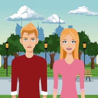 Paar junge im park mit städtischen hintergrund