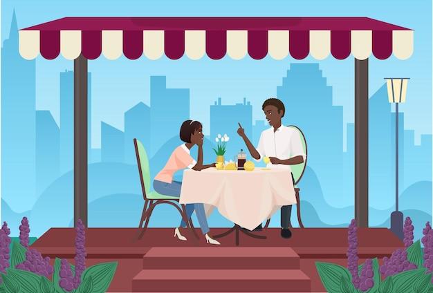 Paar junge leute, die zusammen kaffee trinken, in caféfreundlichen oder romantischen gesprächen