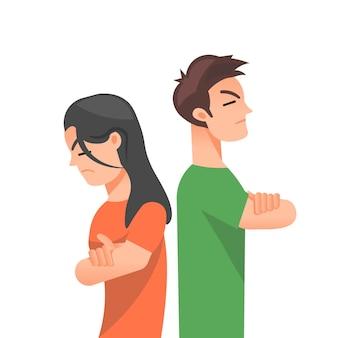 Paar kämpfen und drehen sich den rücken zu