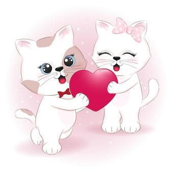 Paar katze und herz valentinstag illustration