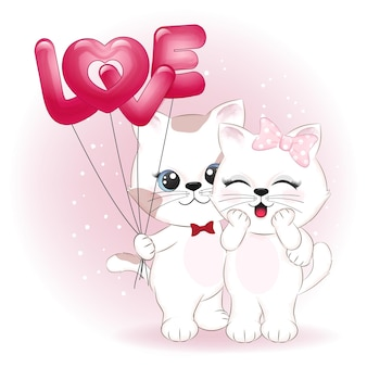 Paar katze und herzballons illustration