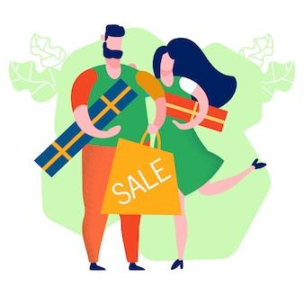 Paar-kaufende geschenk-karikatur-vektor-illustration