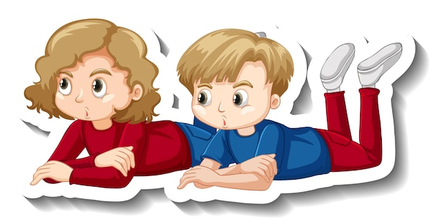 Paar kinder, die zeichentrickfigur-aufkleber niederlegen