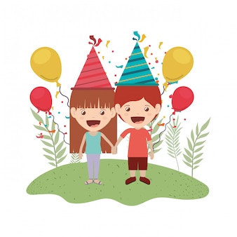 Paar kinder in geburtstagsfeier
