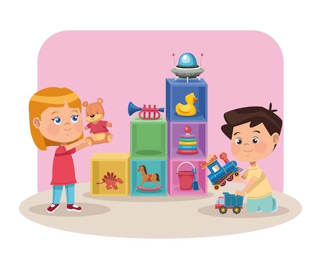 Paar kinder spielen kids
