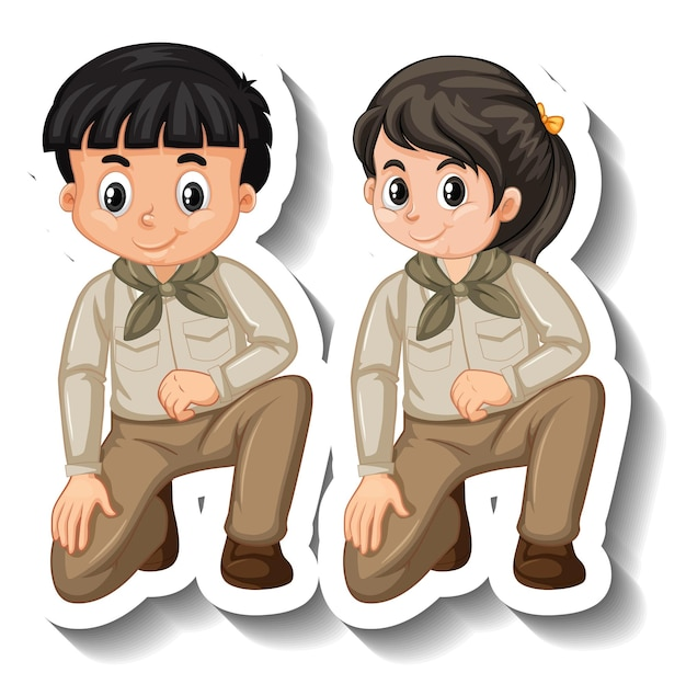 Paar kinder tragen safari-outfit-cartoon-charakter-aufkleber