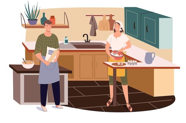 Paar kochen zu hause küche web-konzept. mann und frau in schürzen bereiten gemeinsam frühstück, abendessen oder hausgemachte gerichte zu
