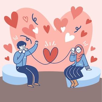 Paar kommunizieren miteinander über blechdose telefon illustration