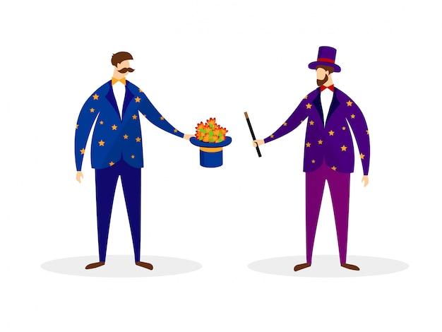 Paar künstler magier, die zaubertrick durchführen
