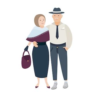 Paar lächelnde und umarmende alte dame und herr in eleganten abendkleidern gekleidet. paar verliebte ältere menschen. nette karikaturfiguren lokalisiert auf weißem hintergrund. illustration.