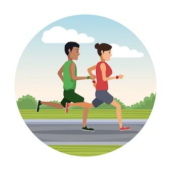 Paar läuft außerhalb runde symbol