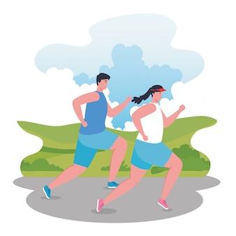 Paar läuft im freien, frau und mann in der sportbekleidung, die im park joggt