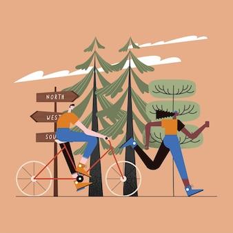 Paar läuft trainingsaktivitäten szene