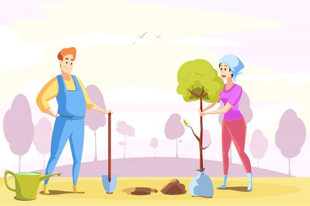 Paar, landwirtschaft, gartenarbeit, pflanzen, naturkonzept