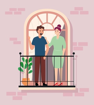 Paar leute auf balkon