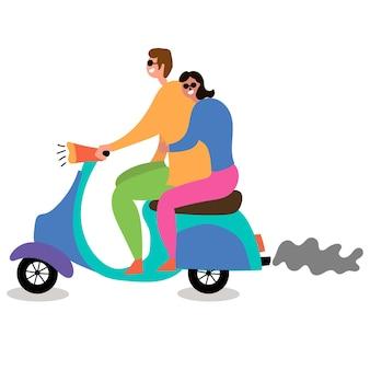 Paar liebt moped fahren massentourismus zum reisen inspirieren