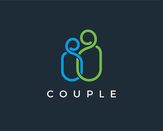Paar-logo liebesunterstützung mann und frau zusammen symbolkonzept dies stellt auch eine umarmung dar, enge freunde umarmen, zusammen ereignisse wie verlobungsheirat