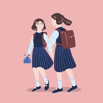 Paar mädchen in schuluniform, die zusammen gehen. studentinnen, schüler oder klassenkameraden in formeller kleidung, die miteinander sprechen. bunte illustration im flachen karikaturstil.
