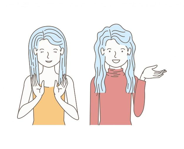 Paar mädchen reden avatare zeichen