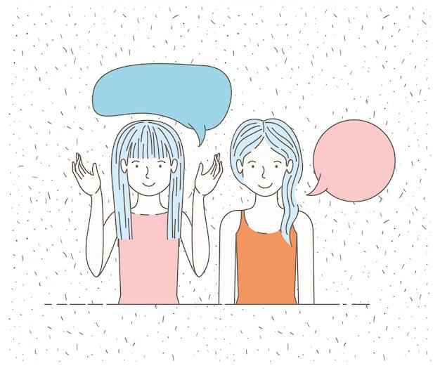 Paar mädchen reden mit sprechblasen