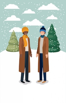 Paar männer in schneelandschaft mit winterkleidung