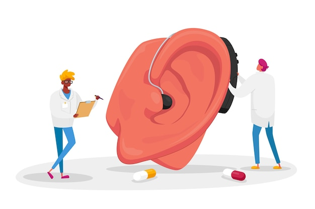 Paar männliche ärzte charaktere, die gehörlosenhilfe auf riesigem patientenohr passen. hörverlust medizinisches gesundheitsproblem, hals-nasen-ohren-heilkunde, konzept der taubheitserkrankung. cartoon menschen