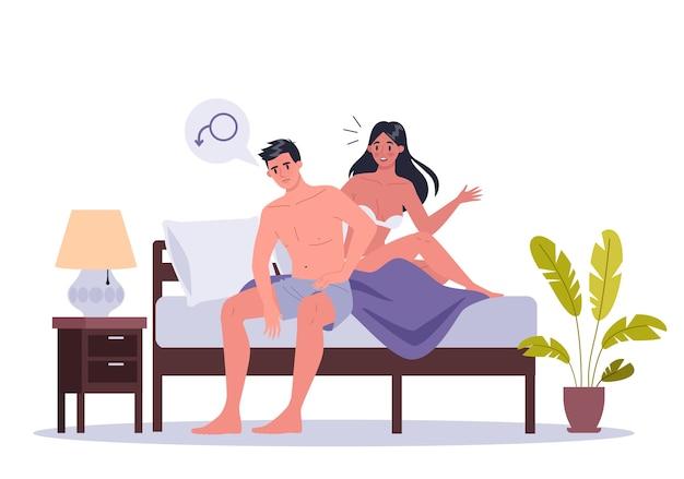 Paar mann und frau im bett liegen. von exuellen oder intimen problemen zwischen romantischen partnern. sexuelle dysfunktion und verhaltensmissverständnisse.