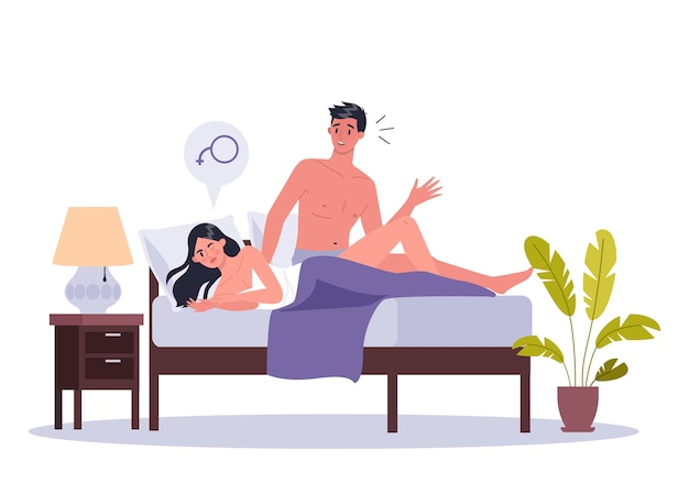 Paar mann und frau im bett liegen. von sexuellen oder intimen problemen zwischen romantischen partnern. sexuelle dysfunktion und verhaltensmissverständnisse.