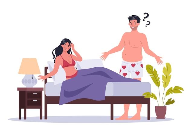 Paar mann und frau im bett liegen. von sexuellen oder intimen problemen zwischen romantischen partnern. sexuelle unattraktivität und verhaltensmissverständnisse.