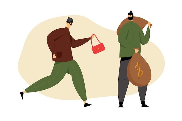 Paar maskierte räuber mit gestohlener frauentasche und geldsäcken