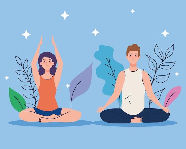 Paar meditiert in der natur und geht, konzept für yoga, meditation, entspannung, gesunder lebensstil