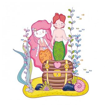 Paar meerjungfrauen mit schatztruhe unter wasser