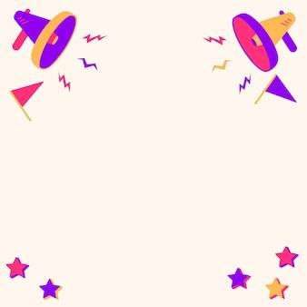 Paar megaphon-zeichnung, die kleine donner produziert, die neue ankündigung machen. megaphons, die mit kleinen blitzen zeichnen, die späte werbung produzieren.
