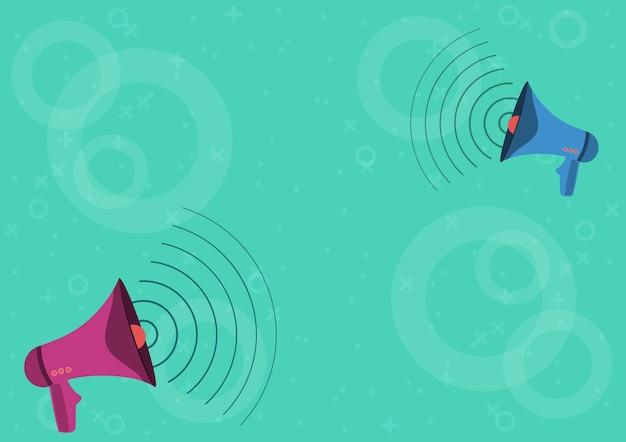 Paar megaphone, die die erzeugung von schallwellen zeichnen, die eine neue ankündigung machen. megaphons zeichnung machen frequenzmodulation, die späte werbung fördert.
