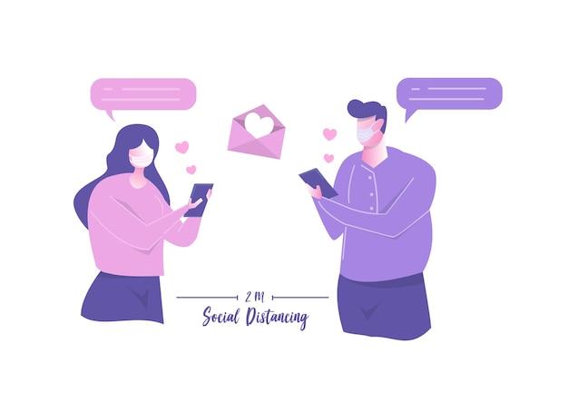 Paar menschen, die app-smartphone für liebevolle nachrichten verwenden. romantischer online-liebeschat happy valentines day soziale distanzierende männer und frauen in medizinischer maske