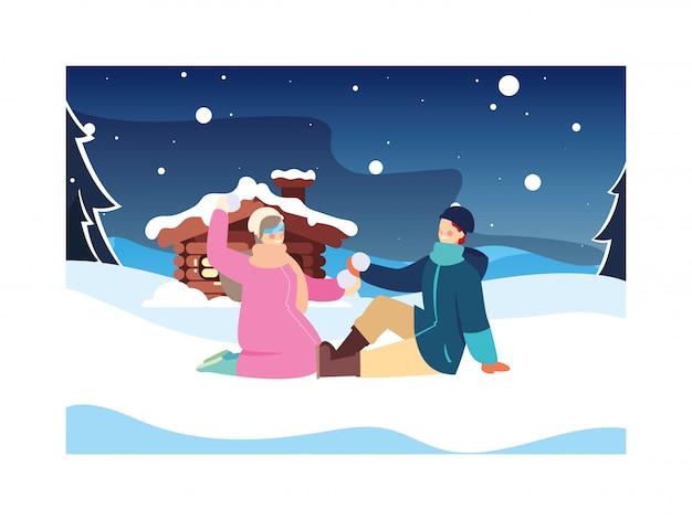 Paar menschen mit winterlandschaft und einfamilienhaus