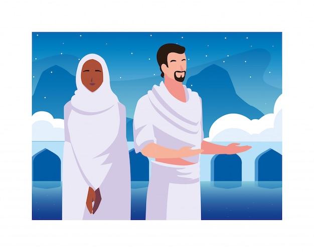 Paar menschen pilger hadsch, tag des dhul hijjah