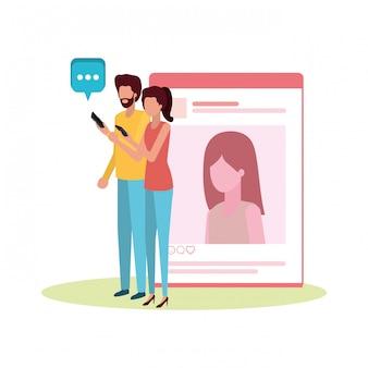 Paar mit avatar-charakter des sozialen netzwerks