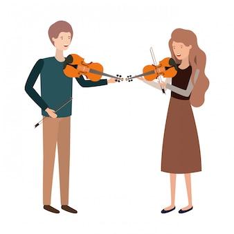 Paar mit avatar instrument charakter