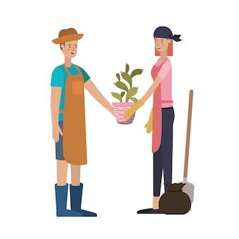 Paar mit bäumen, avatar-charakter zu pflanzen