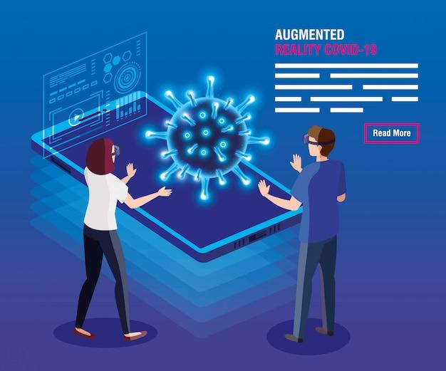 Paar mit brille virtual reality und smartphone, augmented reality, coronavirus covid-19 vektor-illustration design