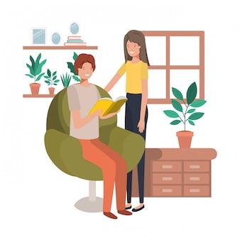 Paar mit buch im wohnzimmer avatar charakter