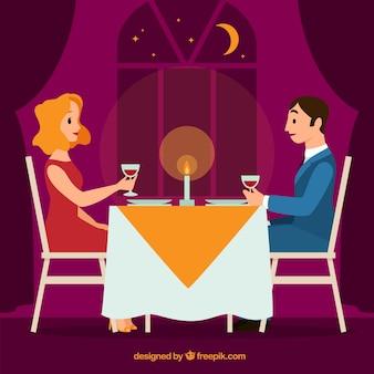 Paar mit einem romantischen abendessen