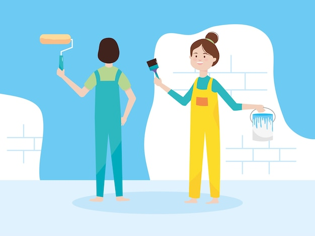 Paar mit farbrollerpinsel und eimer blaue wand illustration umbau