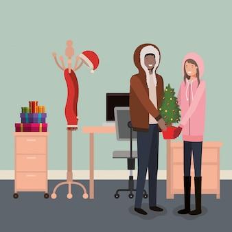 Paar mit geschenken präsentiert weihnachten