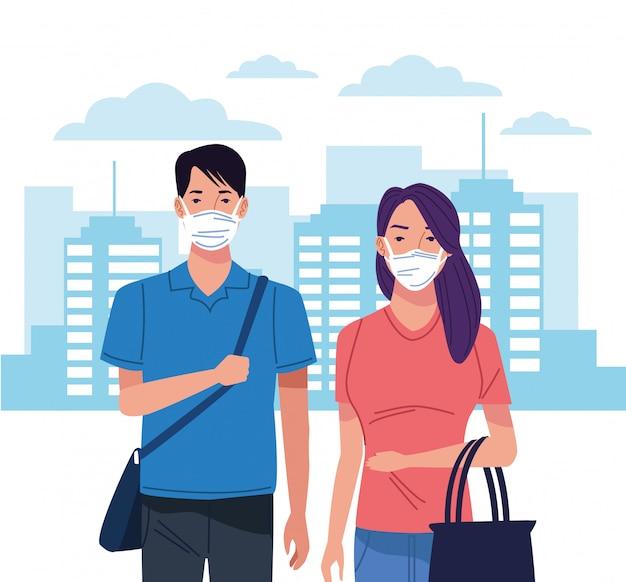 Paar mit gesichtsmaske für corona-virus auf der stadt