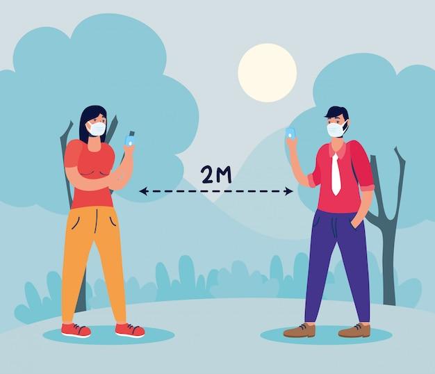 Paar mit gesichtsmasken mit sozialer distanzierung für covid19