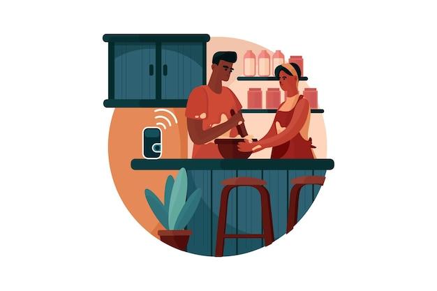 Paar mit intelligentem lautsprecher, um das essen zu kochen